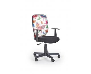 Detská stolička na kolieskach s podrúčkami Kiwi - čierna / vzor motýle