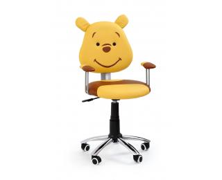 Detská stolička na kolieskach s podrúčkami Kubuś - žltá / hnedá
