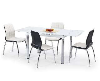 Sklenený rozkladací jedálenský stôl L31 - biela / chróm