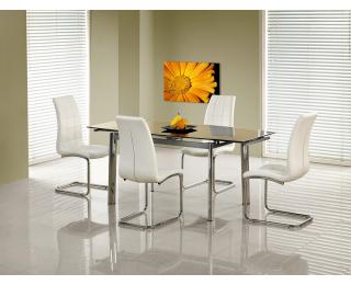 Sklenený rozkladací jedálenský stôl Lambert - čierna / chróm