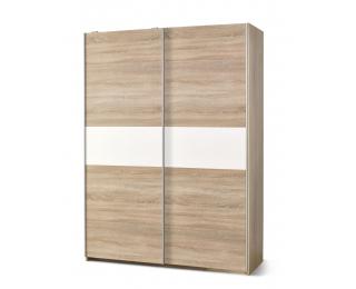 Šatníková skriňa s posuvnými dverami Lima S1 - dub sonoma / biely lesk
