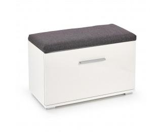 Botník (skrinka na topánky) Lima ST2 - biela / biely lesk / sivá