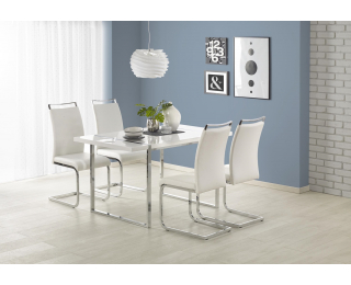 Jedálenský stôl Lion - biely lesk / chróm