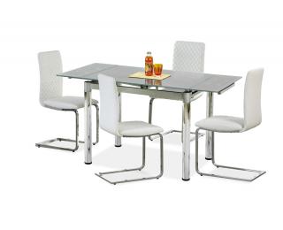 Sklenený rozkladací jedálenský stôl Logan 2 - sivá / chróm