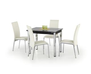 Sklenený rozkladací jedálenský stôl Logan - čierna / chróm