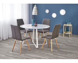 Okrúhly sklenený jedálenský stôl Looper - biela