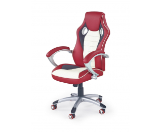 Kancelárske kreslo s podrúčkami Malibu - červená / krémová