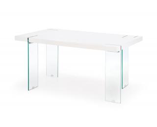Jedálenský stôl Milton - biely lesk / priehľadná