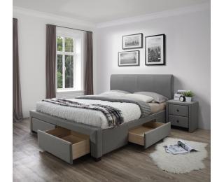 Čalúnená manželská posteľ s roštom Modena 160 - sivá