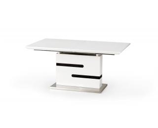 Rozkladací jedálenský stôl Monaco - biely lesk / sivá