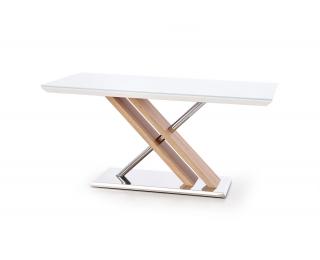 Sklenený jedálenský stôl Nexus - biely lesk / dub sonoma