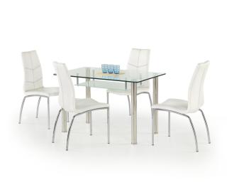Sklenený jedálenský stôl Olivier - priehľadná / mliečna / nerezová