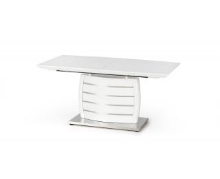Rozkladací jedálenský stôl Onyx - biely lesk / nerezová
