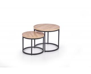 Okrúhly konferenčný stolík (2 ks) Oreo - dub san remo / čierna