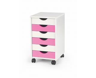 Kontajner na kolieskach Pierre 2 - biela / biely lesk / ružový lesk
