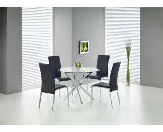 Okrúhly sklenený jedálenský stôl Raymond - priehľadná / chróm