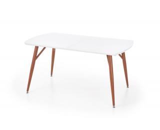 Rozkladací jedálenský stôl Richard - biely lesk / čerešňa antická