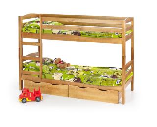 Drevená poschodová posteľ s roštami a matracmi Sam 80 - jelša