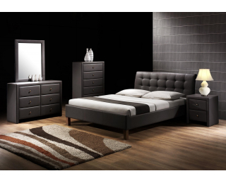 Čalúnená manželská posteľ s roštom Samara 160 - čierna