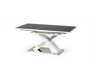 Rozkladací jedálenský stôl Sandor 2 - čierny lesk / biely lesk / nerezová