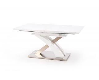 Rozkladací jedálenský stôl Sandor - biely lesk