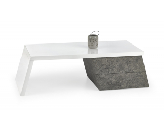 Konferenčný stolík Sedia - biely lesk / betón