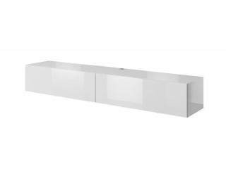 TV stolík na stenu Slide 200 - biela / biely lesk