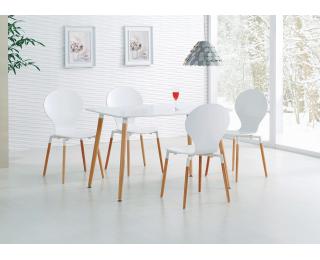 Jedálenský stôl Socrates 120 - biely lesk / buk
