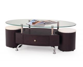 Sklenený konferenčný stolík Stella - wenge / priehľadná