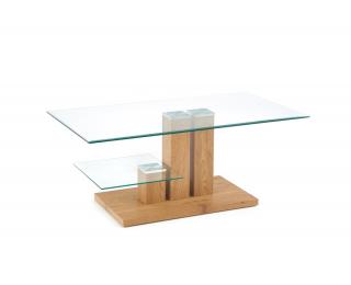 Sklenený konferenčný stolík Tempa - dub zlatý / priehľadná