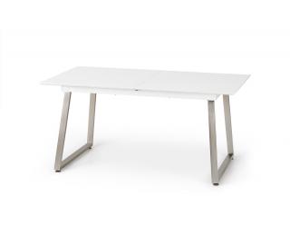 Rozkladací jedálenský stôl Thomas - biely lesk / betón