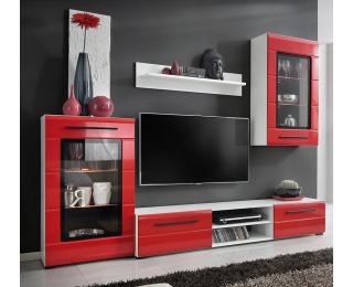 Obývacia stena s osvetlením Timber 1 - biela / červený lesk