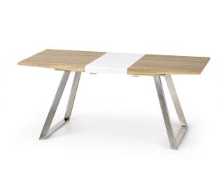 Rozkladací jedálenský stôl Trevor - dub sonoma / biely lesk / nerezová