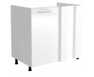 Drezová rohová kuchynská skrinka Vento DKN-100/82 - biela / biely vysoký lesk