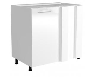Dolná rohová kuchynská skrinka Vento DN-100/82 - biela / biely vysoký lesk