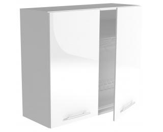 Horná kuchynská skrinka Vento GC-80/72 - biela / biely vysoký lesk