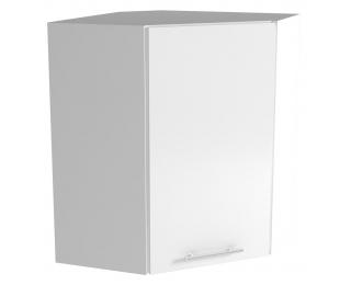 Horná rohová kuchynská skrinka Vento GN-60/72 - biela / svetlosivý vysoký lesk