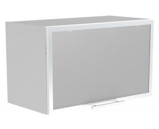 Horná kuchynská skrinka Vento GOV-60/36 - biela / hliník / mliečne sklo