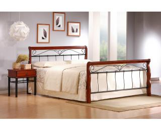 Kovová manželská posteľ s roštom Veronica 180 - čerešňa antická / čierna