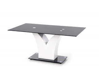 Sklenený jedálenský stôl Vesper - čierna / biely lesk