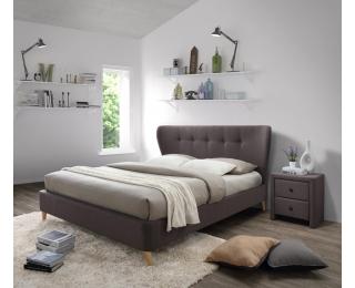 Čalúnená manželská posteľ s roštom Viena 160 - hnedá
