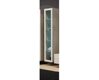 Vitrína na stenu so sklom Vigo 180 - dub sonoma / biely lesk