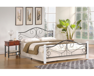 Kovová manželská posteľ s roštom Violetta 160 - biela / čierna