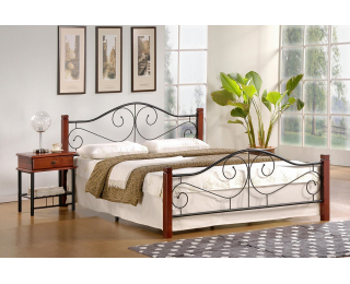 Kovová manželská posteľ s roštom Violetta 140 - čerešňa antická / čierna