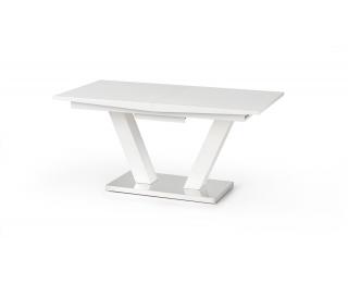 Rozkladací jedálenský stôl Vision - biely lesk / nerezová