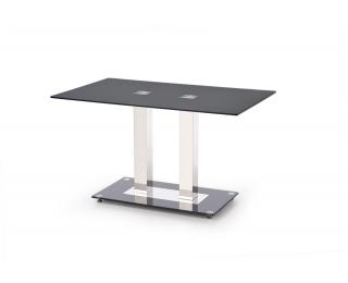 Sklenený jedálenský stôl Walter 2 - čierna / nerezová