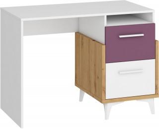 PC stôl Hey Hey-03 - dub artisan / biela / fialová