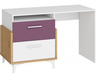 PC stôl Hey HEY-04 - dub artisan / biela / fialová