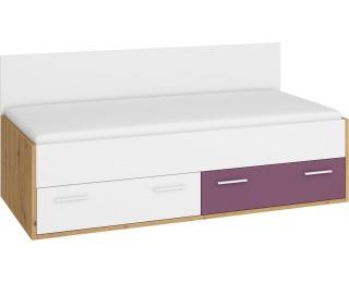 Jednolôžková posteľ s roštom Hey HEY-10 90 - dub artisan / biela / fialová