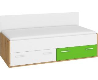 Jednolôžková posteľ s roštom Hey Hey-10 90 - dub artisan / biela / zelená